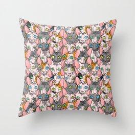 diverse sphynx cat allover print Throw Pillow