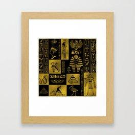 Egyptian  Gold hieroglyphs and symbols collage Framed Art Print