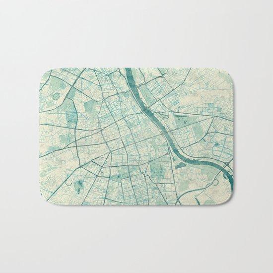 Warsaw Map Blue Vintage Bath Mat