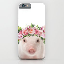 Baby Pig With Flower Crown, Baby Animals Art Print By Synplus iPhone Case