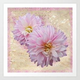 Pink Dahilas Art Print