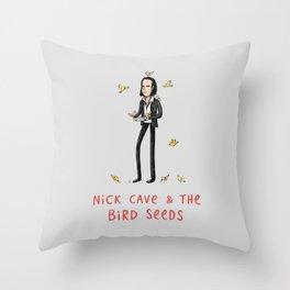 Nick Cave & The Bird Seeds Throw Pillow