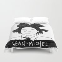 cassandra jean Duvet Covers featuring jean michel by b & c