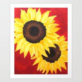 2 Sunflowers on Red Art Print