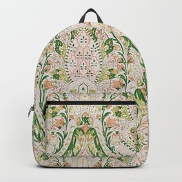 Green Pink Leaf Flower Paisley Backpack