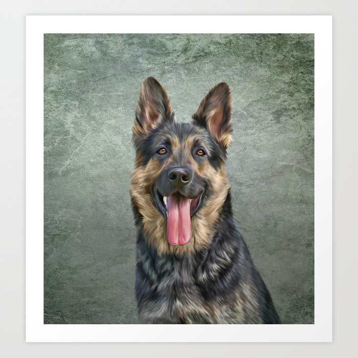 German Shepherd dog. Drawing, illustration funny dog Kunstdrucke