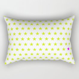 Lime green stars pattern and one single purple star Rectangular Pillow