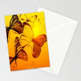Fly fly butterfly! - Butterflies on a orange background with sunlight #society6 #buyart Stationery Cards