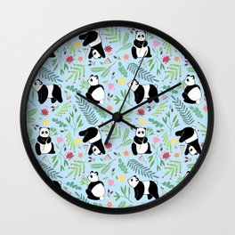 Panda pattern blue Wall Clock