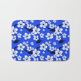 Blue Sakura Cherry Tree Flower Blooms - Aloha Hawaiian Floral Pattern Bath Mat