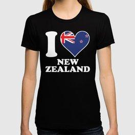 I Love New Zealand Kiwi Flag Heart T-shirt