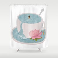 relax Shower Curtains featuring Relax by Laura O'Connor
