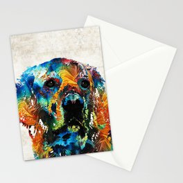 Colorful Dog Art - Heart And Soul - By Sharon Cummings Stationery Cards