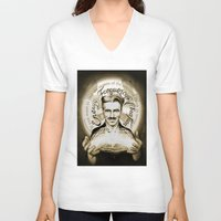 tesla V-neck T-shirts featuring Nikola Tesla by Kitchimama