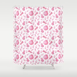 Pink Watercolour Pomegranate Simple Pattern Shower Curtain
