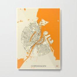 Copenhagen Map Moon Metal Print