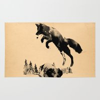 brown Area & Throw Rugs featuring The quick brown fox jumps over the lazy dog by Robert Farkas