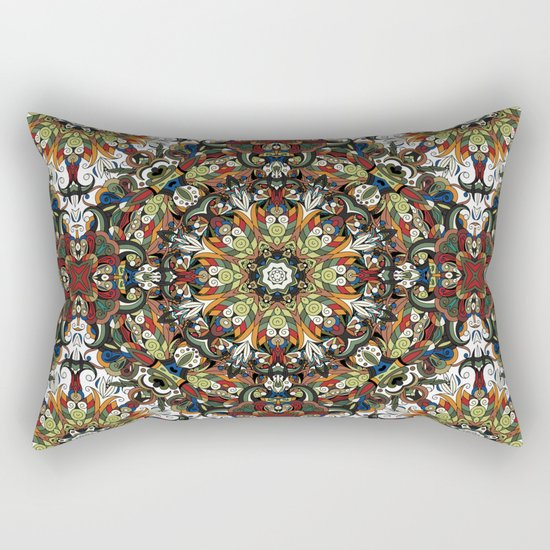 Boho Geometric Mandela Pattern 1 Rectangular Pillow