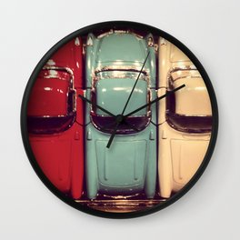 Vintage classic toy cars. Red Blue Beige. Retro style. Wall Clock