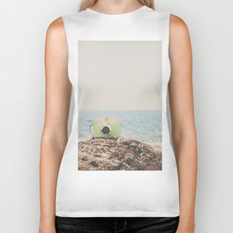 """the """"dreamer"""", a mint green camera with the ocean behind it Biker Tank"""