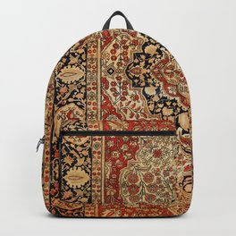Persian Kashan Old Century Authentic Colorful Burnt Orange Yellow Vintage Rug Pattern Backpack