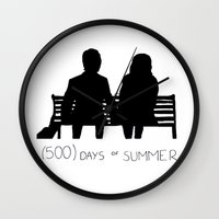 500 days of summer Wall Clocks featuring (500) Days of Summer by ☿ cactei ☿