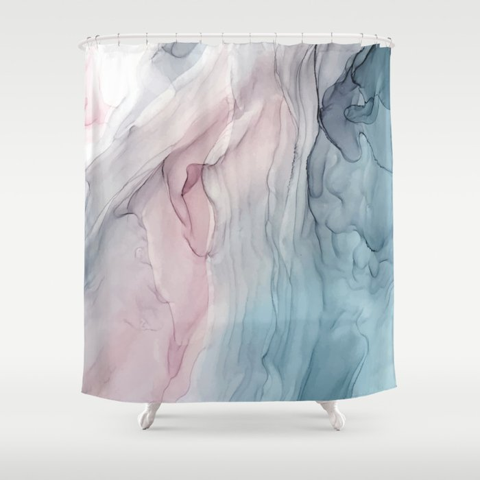 Calming Pastel Flow  Blush, Grey And Blue Shower Curtain
