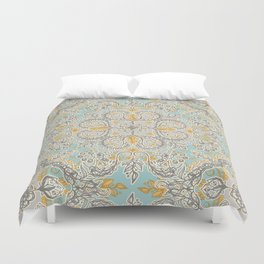 Gypsy Floral in Soft Neutrals, Grey & Yellow on Sage Duvet Cover