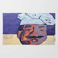 cook Area & Throw Rugs featuring Kiss the Cook  by Ethna Gillespie