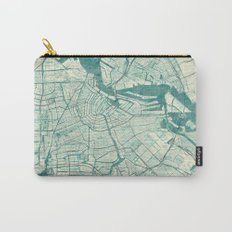 Amsterdam Map Blue Vintage Carry-All Pouch
