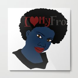 I Love My AFro Blue Hair WordArt Natural Hair Metal Print