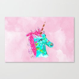 Unicorn on Pink watercolour Canvas Print