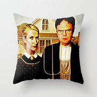 dwight Throw Pillows featuring Dwight Schrute & Angela Martin (The Office: American Gothic) by Silvio Ledbetter