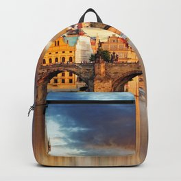 Historic Charles Bridge Prague Czechia Vitava River Europe At Romantic Evening Red Ultra HD Backpack