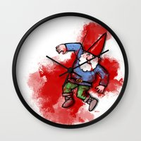 gnome Wall Clocks featuring Crushed Gnome by Stephan Brusche