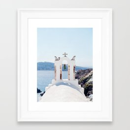 Santorini's Bell Tower Framed Art Print