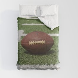 American Football Court with ball on Gras Comforters