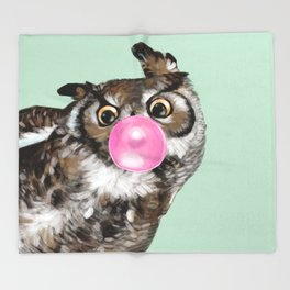 Sneaky Owl Blowing Bubble Gum Throw Blanket