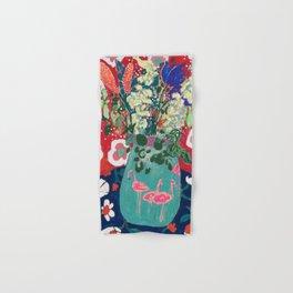 Wild Flowers in Flamingo Vase Floral Painting Hand & Bath Towel