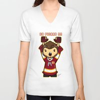 picard V-neck T-shirts featuring Mini Picard by Kana Aiysoublood