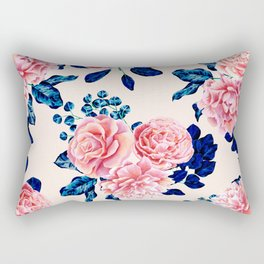 Girly Pink Navy Blue Country Painted Flowers Rectangular Pillow