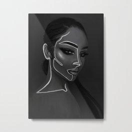 Neon Girl // Black and White Portrait Metal Print