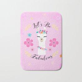 Let's Be Fabulous - Pink Cute Alpaca - Llama with Flowers Bath Mat