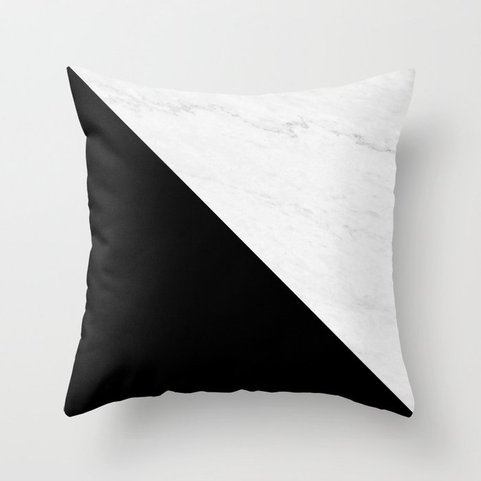 Marble And Black Diagonal Throw Pillow