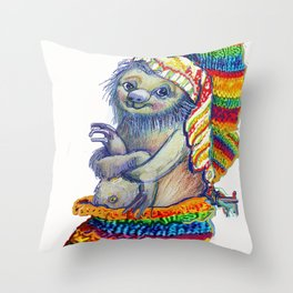 Sloth in a Sock Throw Pillow