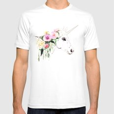 Unicorn, flowers, watercolor Mens Fitted Tee MEDIUM White