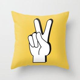 Peace Sign yellow Throw Pillow