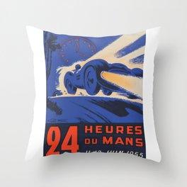 1955 Le Mans poster, vintage car poster, Le Mans poster, Throw Pillow