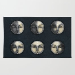 moon phases and textured darkness Rug