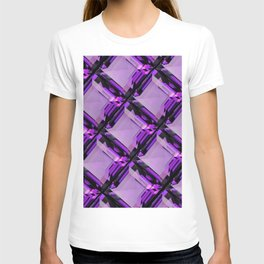 SQUARE CUT PURPLE FEBRUARY AMETHYST GEMS DIAGONAL PATTERN T-shirt
